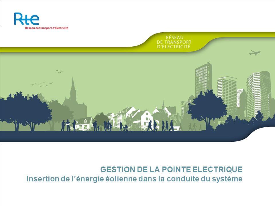 GESTION DE LA POINTE ELECTRIQUE Insertion de l'énergie éolienne dans la conduite du système