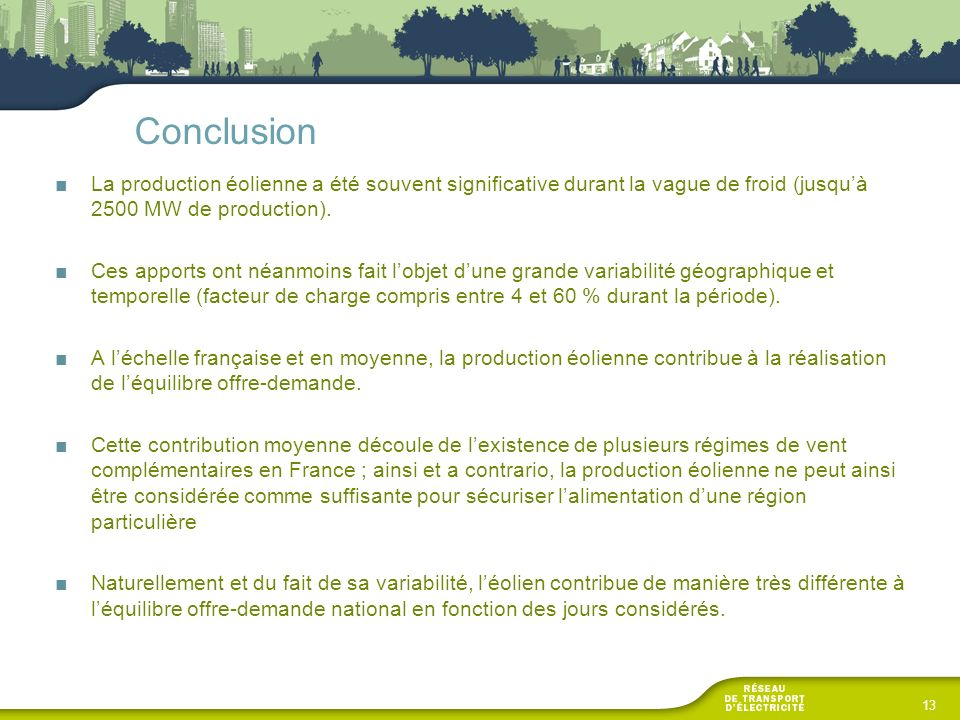 Conclusion La production éolienne a été souvent significative durant la vague de froid (jusqu'à 2500 MW de production).