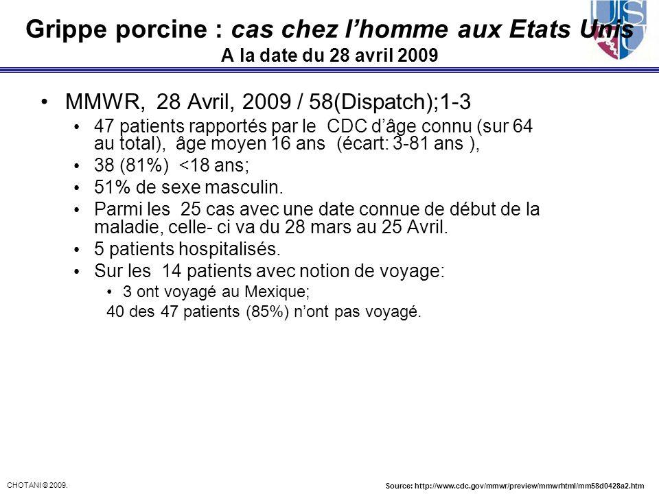 Cas humains confirmés de grippe porcine A (H1N1)