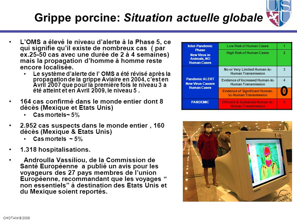 Grippe porcine: Situation actuelle globale