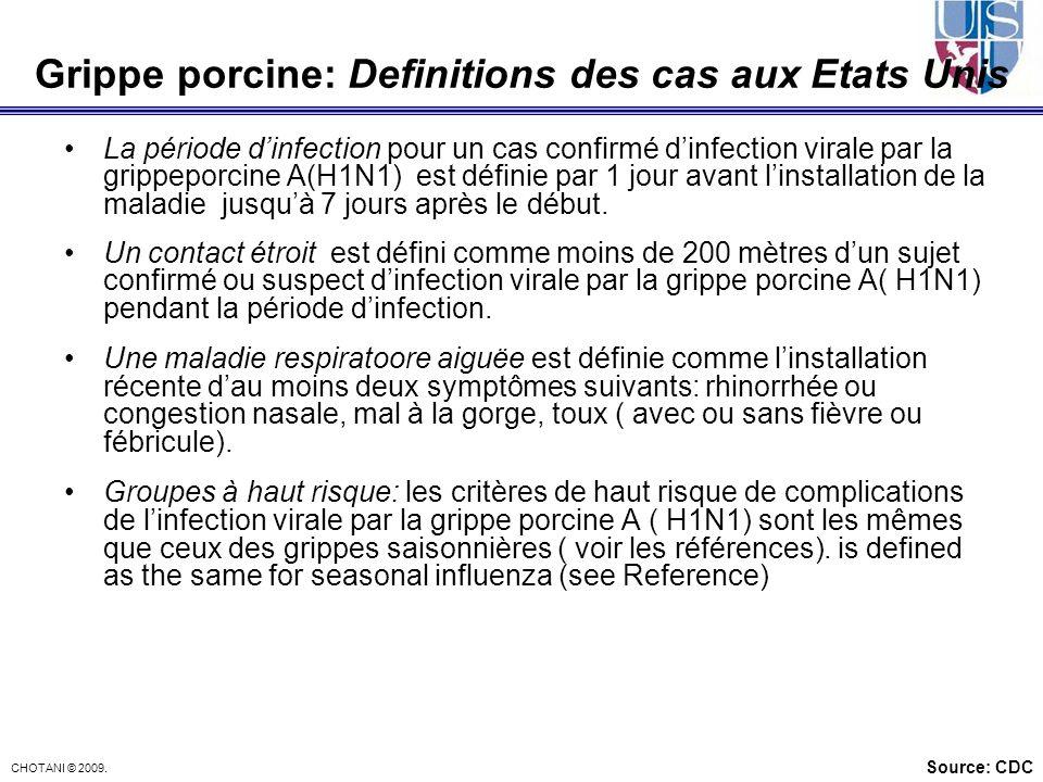 Grippe porcine: Definitions des cas aux Etats Unis