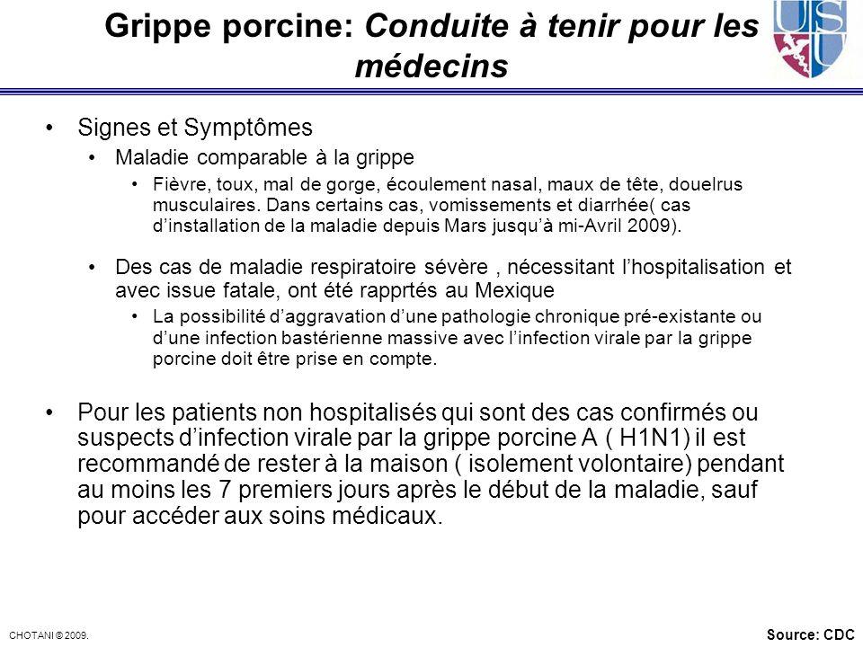 Grippe porcine: Conduite à tenir pour les médecins