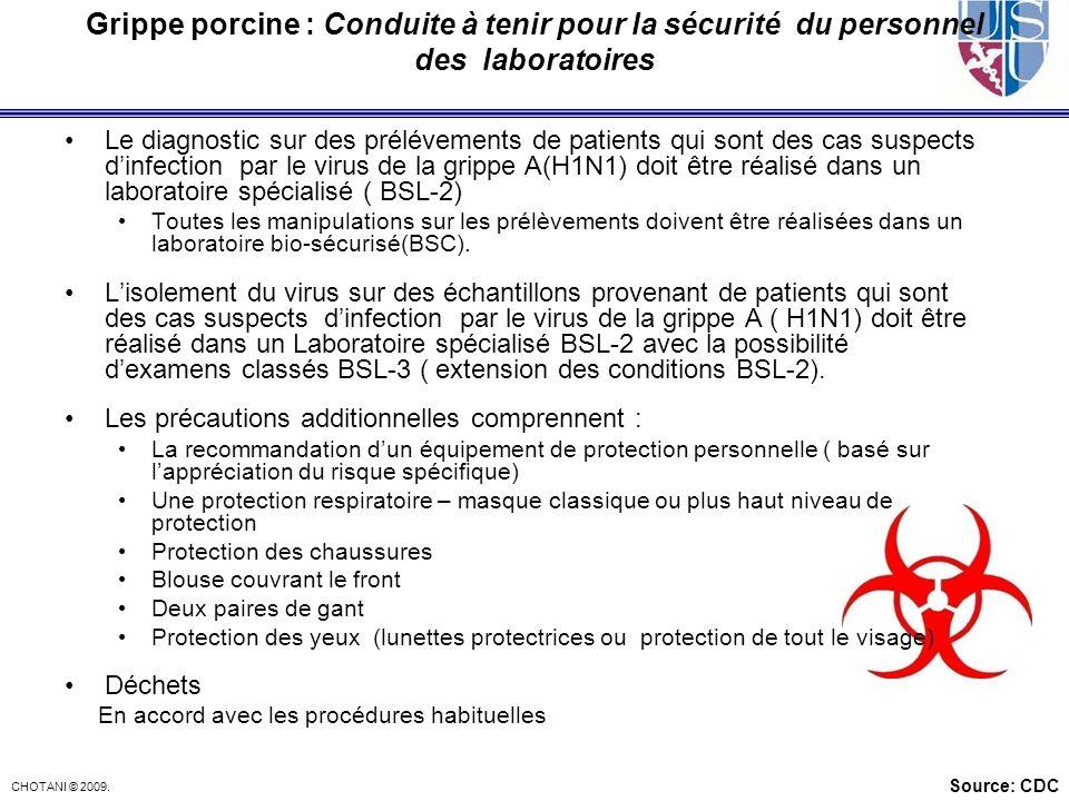 Grippe porcine : Conduite à tenir pour la sécurité du personnel des laboratoires