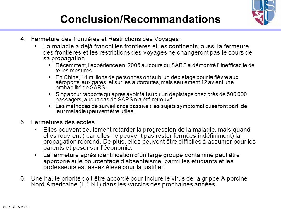 Conclusion/Recommandations