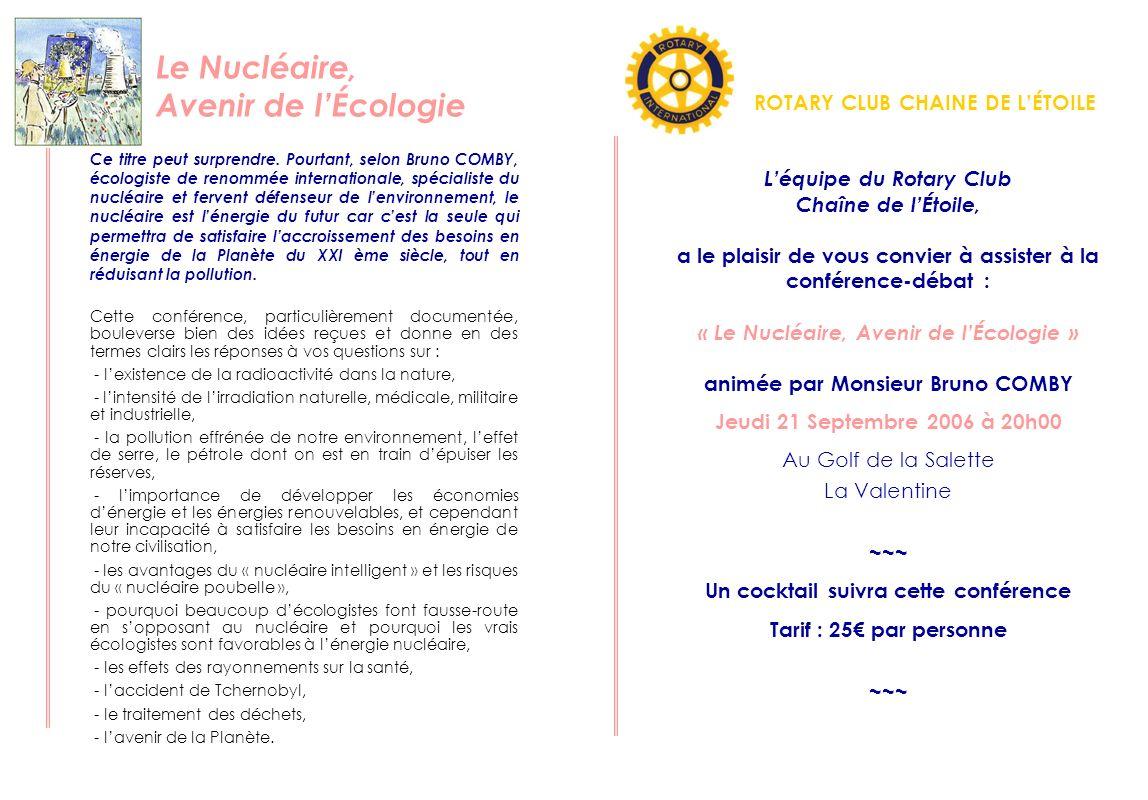 Le Nucléaire, Avenir de l'Écologie ROTARY CLUB CHAINE DE L'ÉTOILE