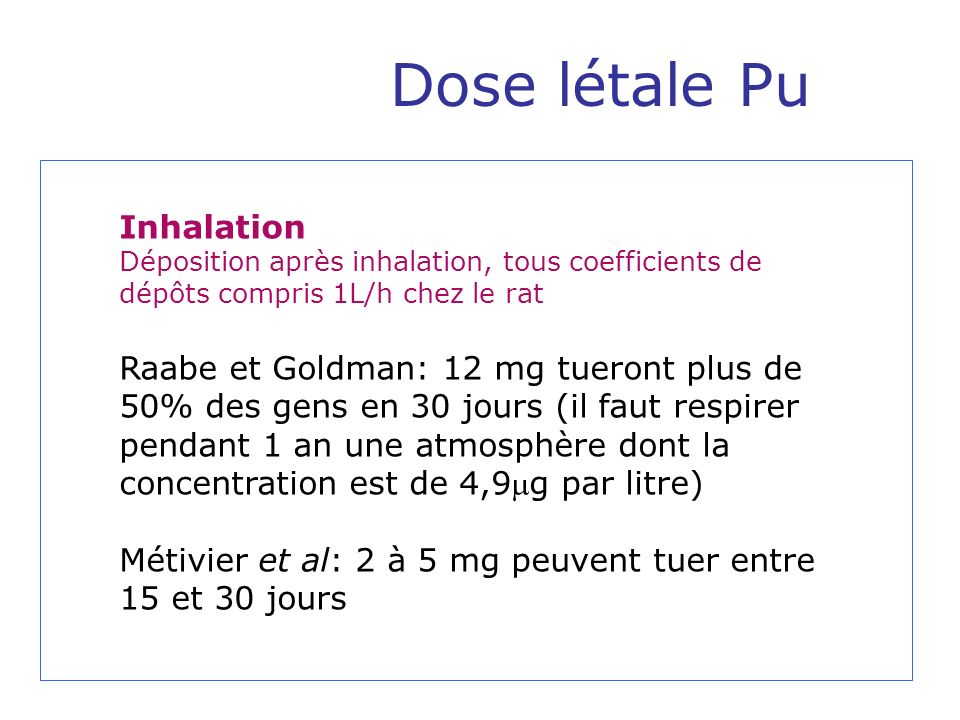 Dose létale Pu Inhalation