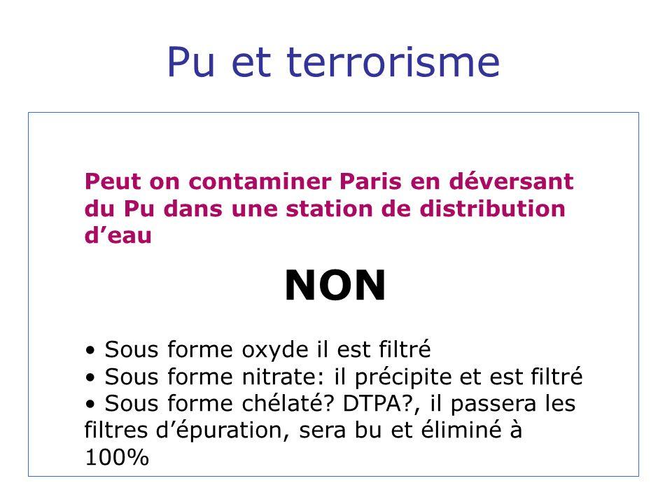 Pu et terrorisme Peut on contaminer Paris en déversant du Pu dans une station de distribution d'eau.