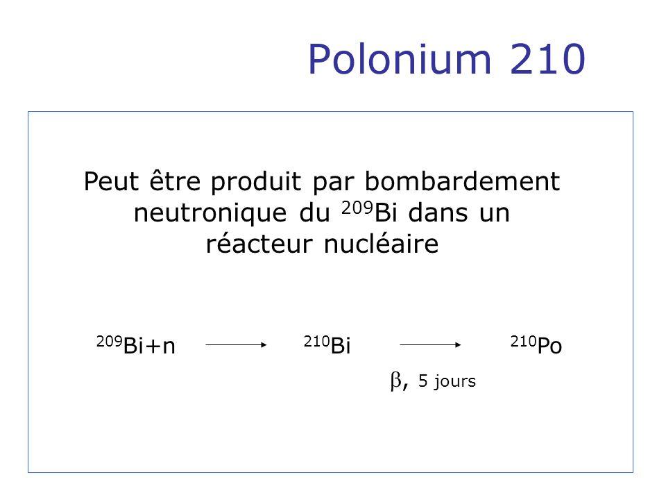 Peut être produit par bombardement neutronique du 209Bi dans un