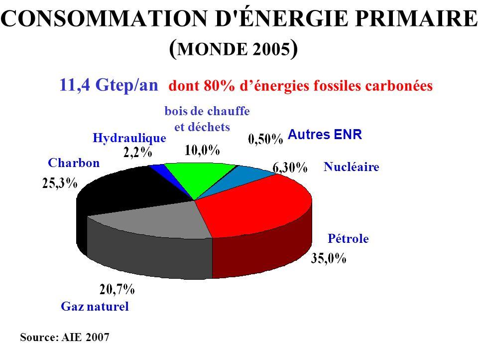 CONSOMMATION D ÉNERGIE PRIMAIRE (MONDE 2005)