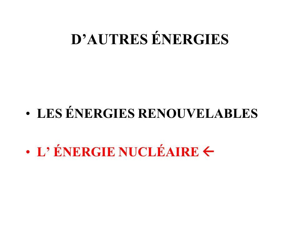 D'AUTRES ÉNERGIES LES ÉNERGIES RENOUVELABLES L' ÉNERGIE NUCLÉAIRE 