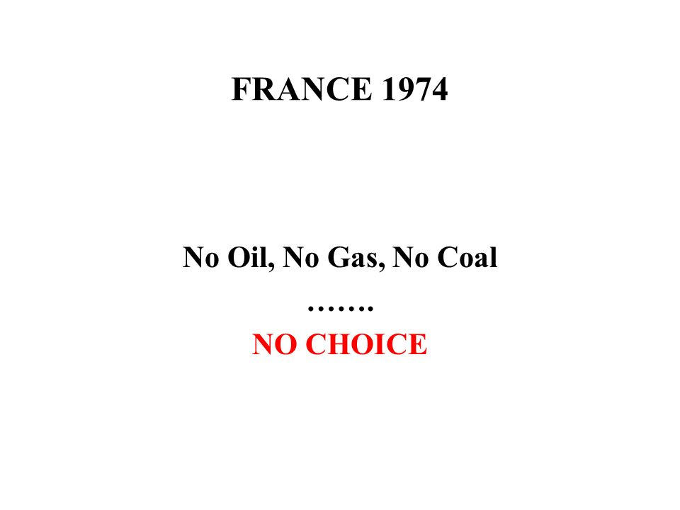 FRANCE 1974 No Oil, No Gas, No Coal ……. NO CHOICE