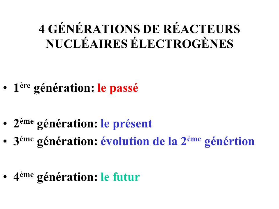 4 GÉNÉRATIONS DE RÉACTEURS NUCLÉAIRES ÉLECTROGÈNES