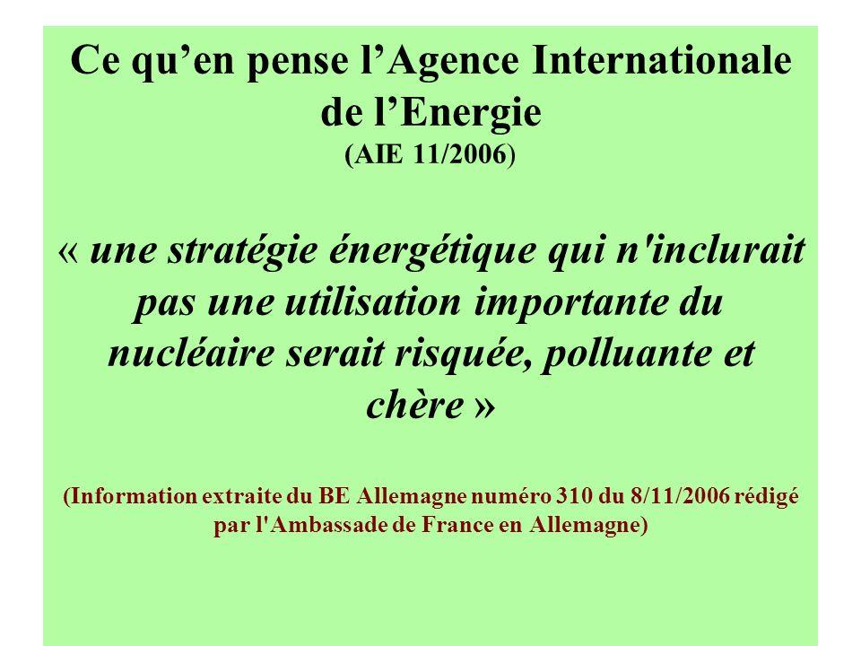 Ce qu'en pense l'Agence Internationale de l'Energie (AIE 11/2006) « une stratégie énergétique qui n inclurait pas une utilisation importante du nucléaire serait risquée, polluante et chère » (Information extraite du BE Allemagne numéro 310 du 8/11/2006 rédigé par l Ambassade de France en Allemagne)