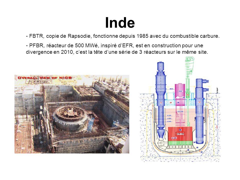 Inde - FBTR, copie de Rapsodie, fonctionne depuis 1985 avec du combustible carbure.