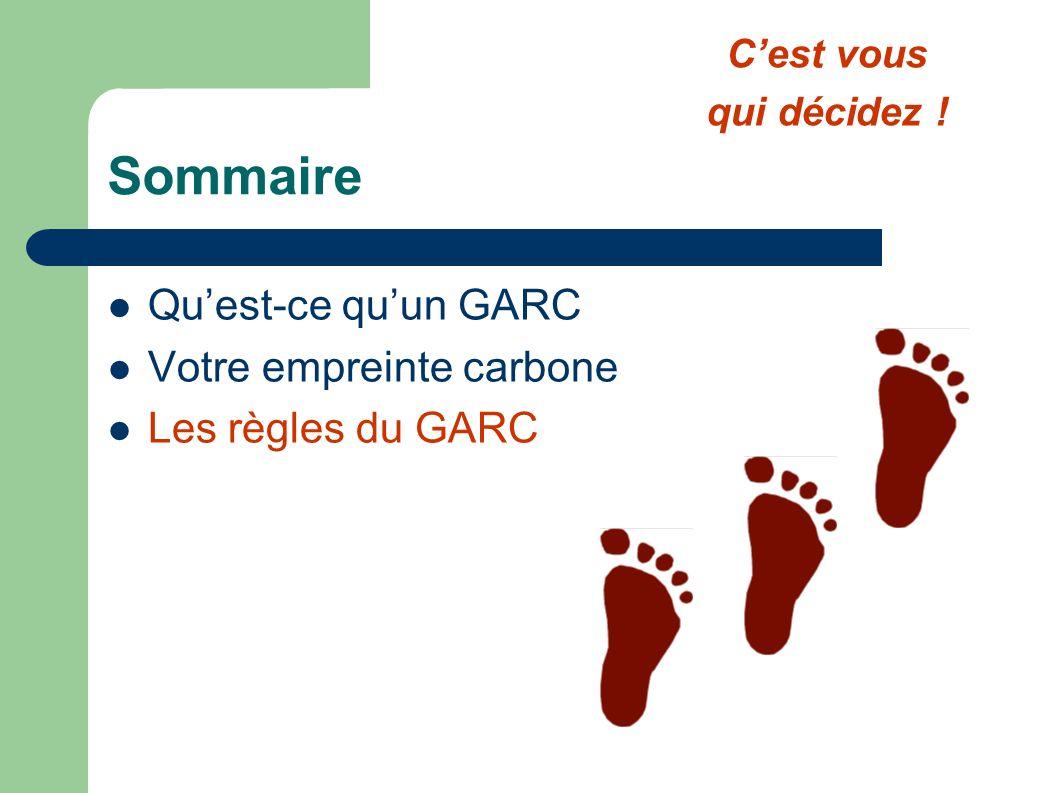 Sommaire Qu'est-ce qu'un GARC Votre empreinte carbone