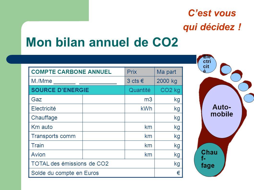 Mon bilan annuel de CO2 C'est vous qui décidez ! Auto-mobile