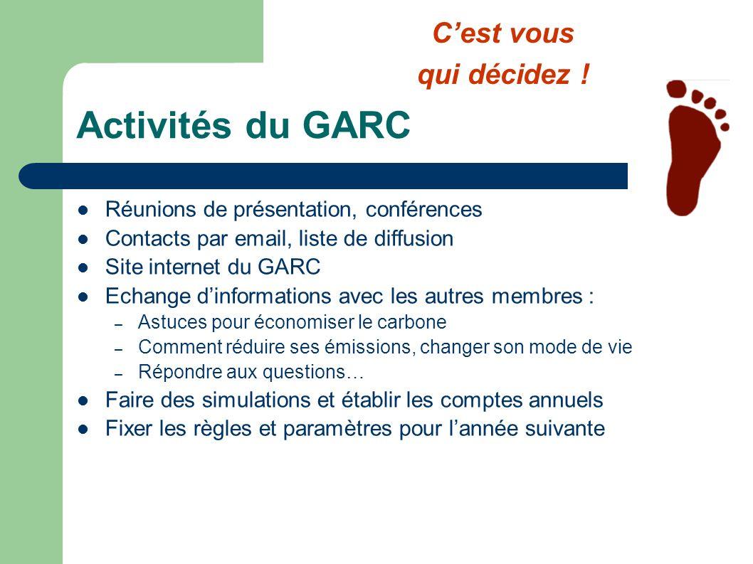 Activités du GARC C'est vous qui décidez !