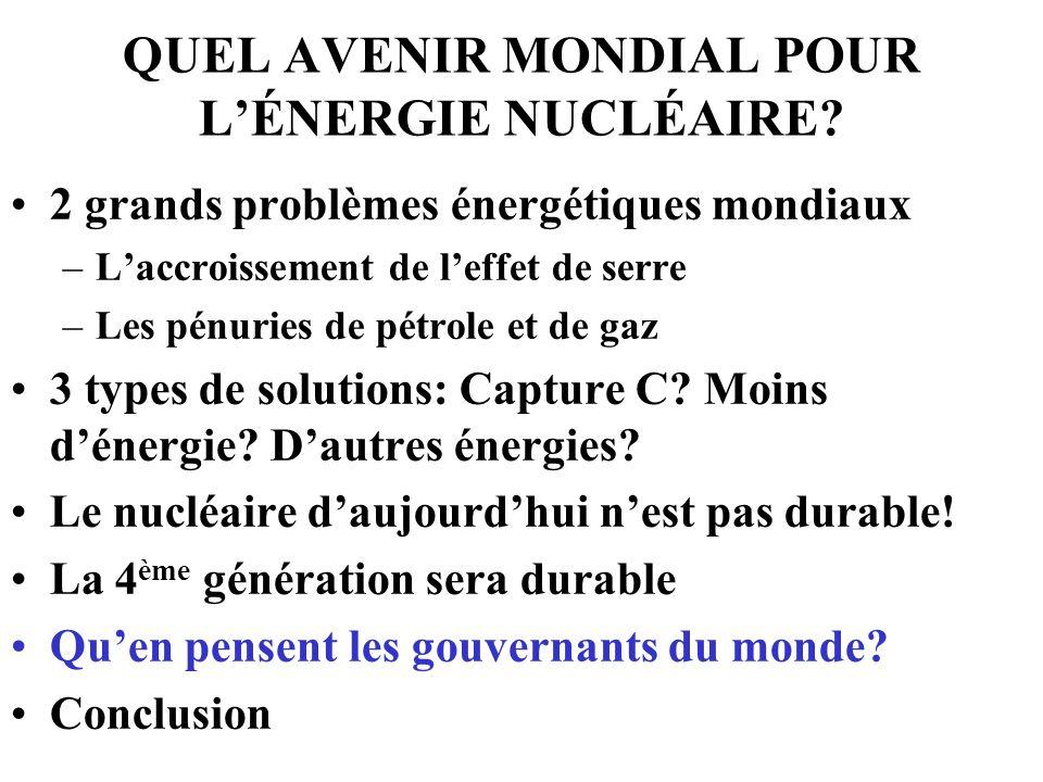 QUEL AVENIR MONDIAL POUR L'ÉNERGIE NUCLÉAIRE