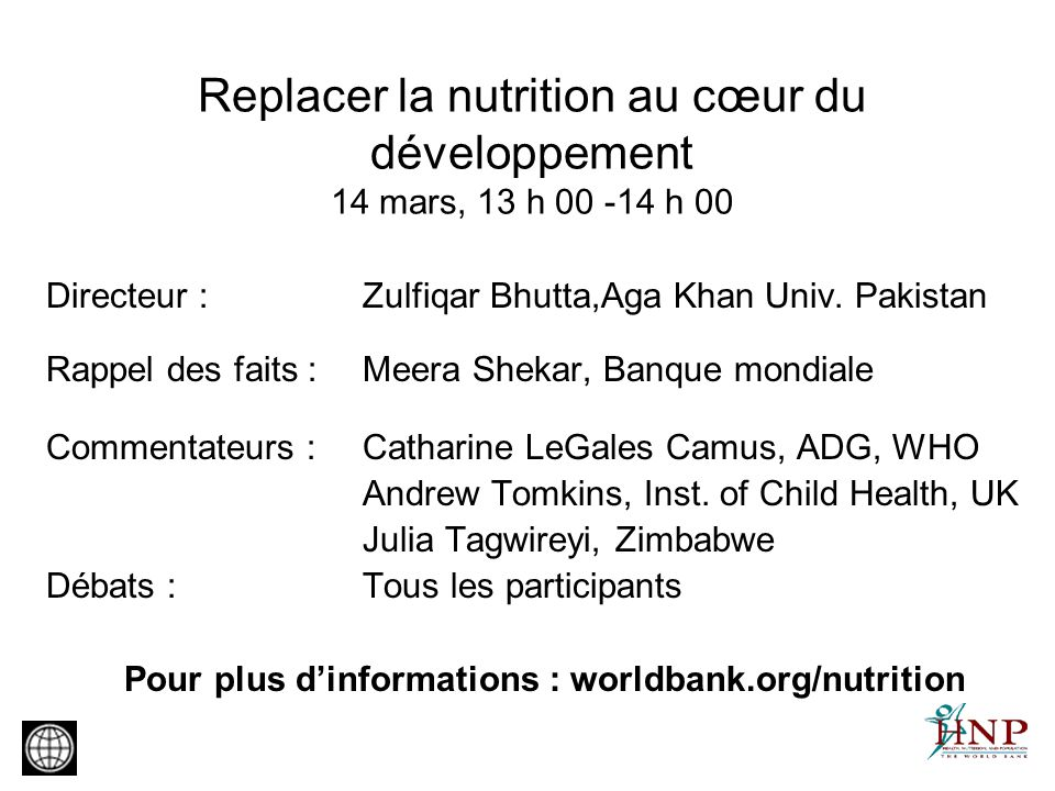 Pour plus d'informations : worldbank.org/nutrition