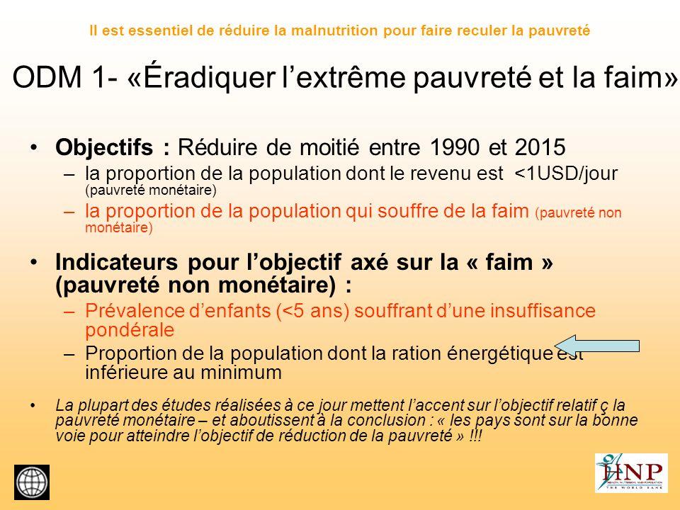 ODM 1- «Éradiquer l'extrême pauvreté et la faim»