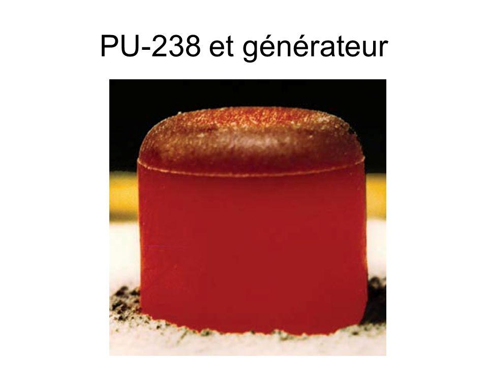 PU-238 et générateurUn gramme de plutonium 238 présente une radioactivité α de 632,7 GBq ainsi que 1 100 fissions spontanées par seconde.