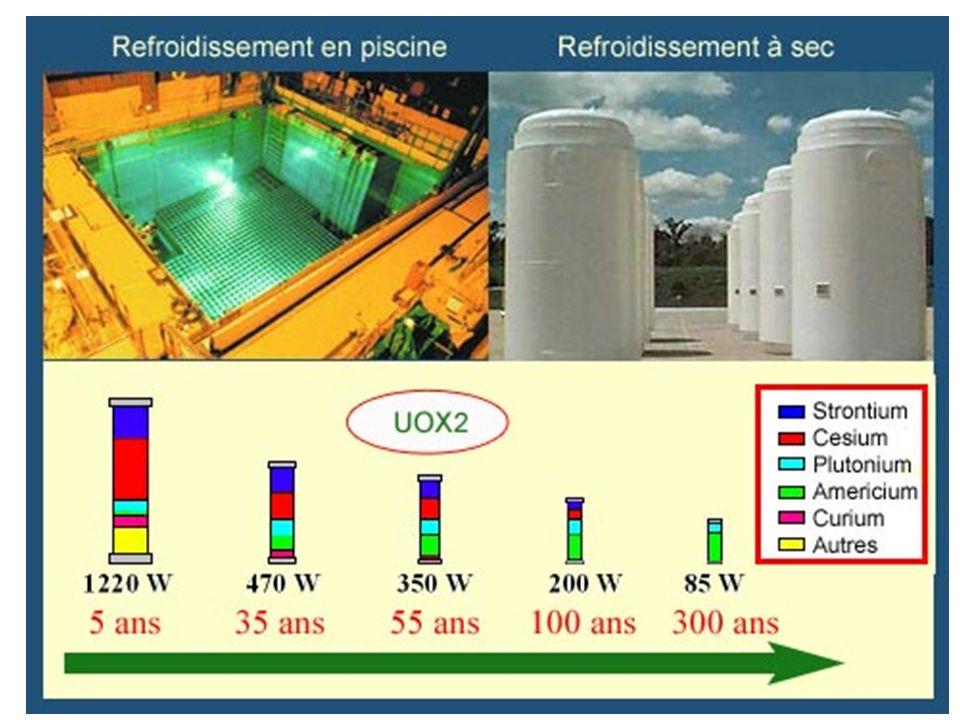 La chaleur dégagée par les désintégrations radioactives joue un rôle important dans les gestion des déchets de haute activité. Cette chaleur se retrouve à l'intérieur d'un assemblage ou d'un colis de déchets vitrifiés, ces matériaux absorbant l'essentiel des radiations. Comme l'activité et la radiotoxicité, la chaleur dégagée diminue avec le temps. Le dégagement de chaleur est particulièrement intense en sortie de réacteur. C'est la raison pour laquelle le combustible irradié est entreposé en France dans une piscine près du réacteur, puis plusieurs années dans une autre à la Hague avant d'être retraité.