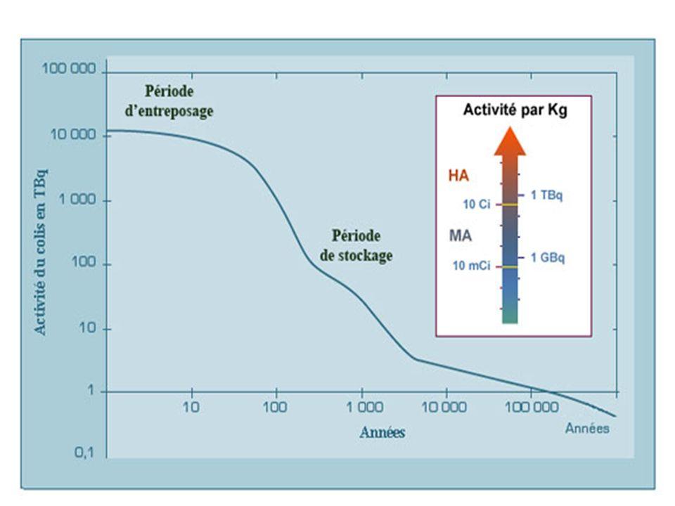 On voit ainsi qu'au bout de 1000 ans, l'activité du colis a décru d'environ 500 fois. Subsistent des radioéléments à vie longue. La disparition progressive de la radioactivité va de pair avec la décroissance de la chaleur dégagée :