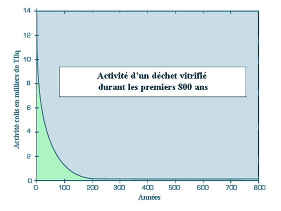 On observe une décroissance assez rapide – tout est relatif – due à la disparition progressive des éléments dits à vie courte comme le césium 137 et le strontium 90.