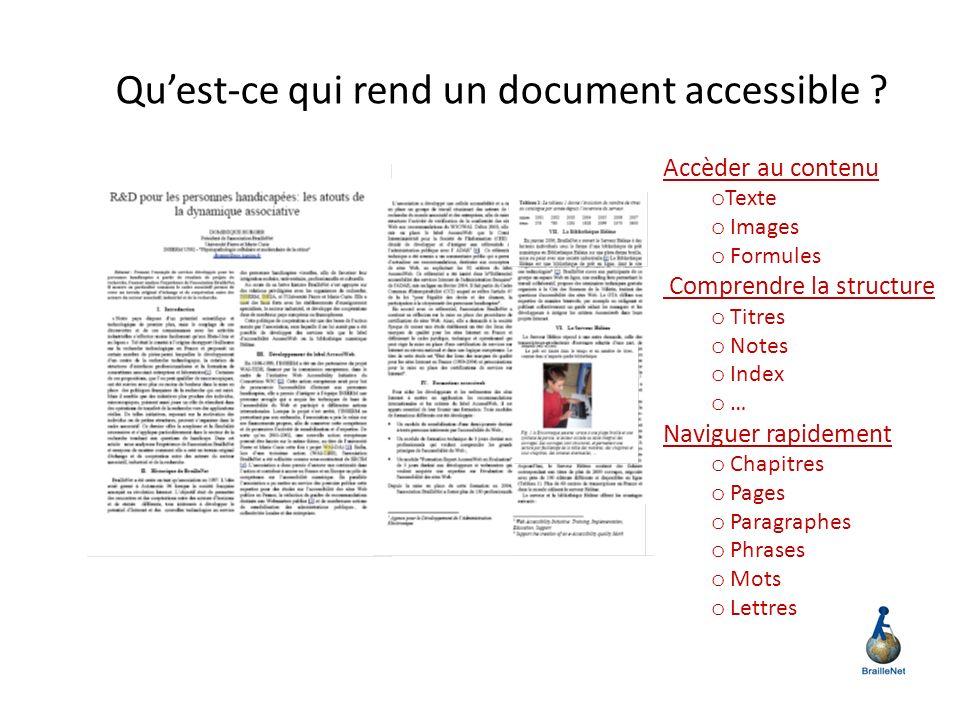 Qu'est-ce qui rend un document accessible