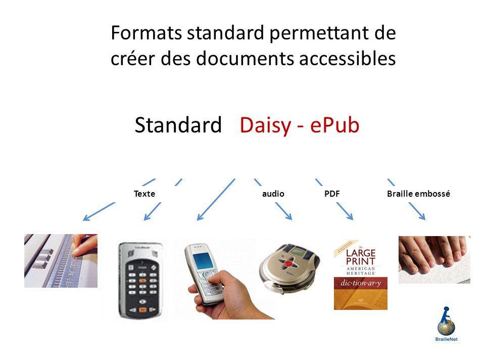 Formats standard permettant de créer des documents accessibles