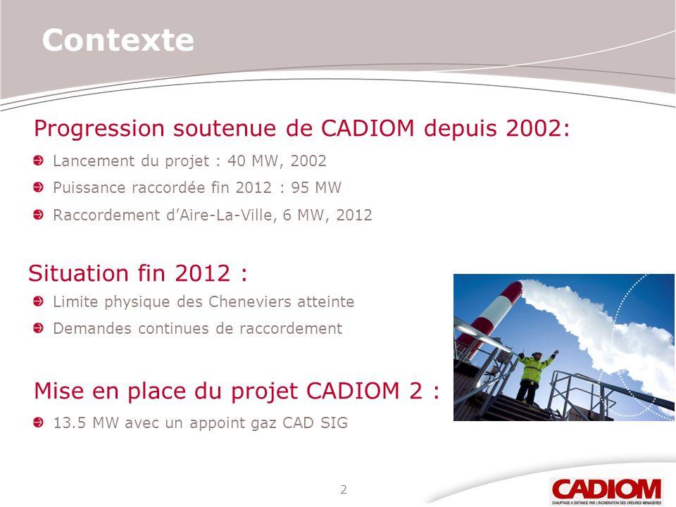 Contexte Progression soutenue de CADIOM depuis 2002: