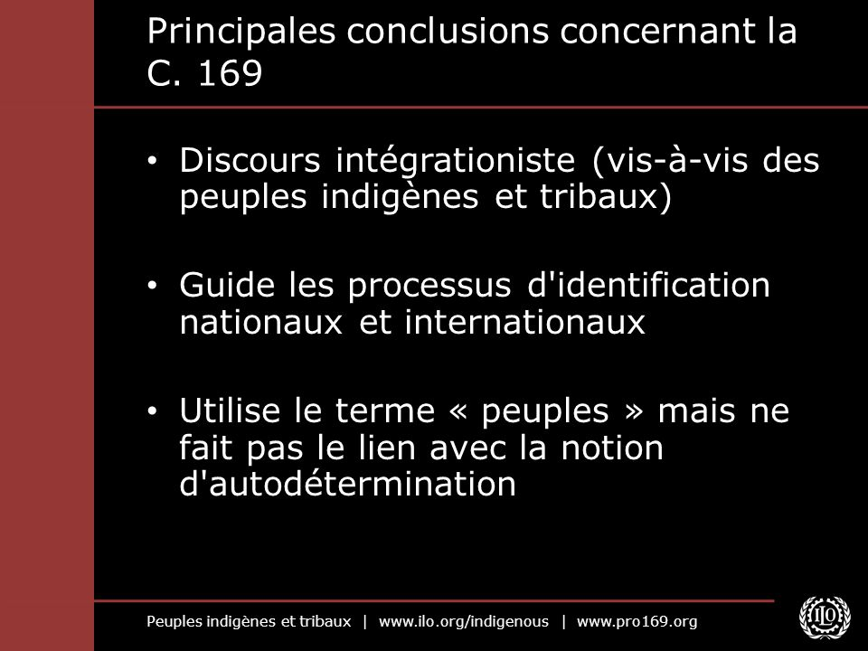 Principales conclusions concernant la C. 169