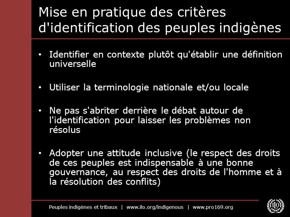 Mise en pratique des critères d identification des peuples indigènes