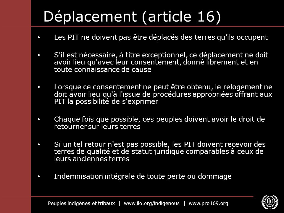 Déplacement (article 16)