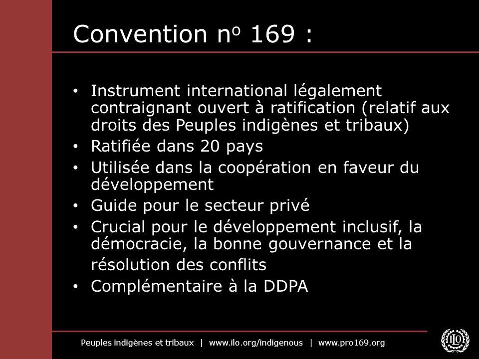Convention no 169 :Instrument international légalement contraignant ouvert à ratification (relatif aux droits des Peuples indigènes et tribaux)