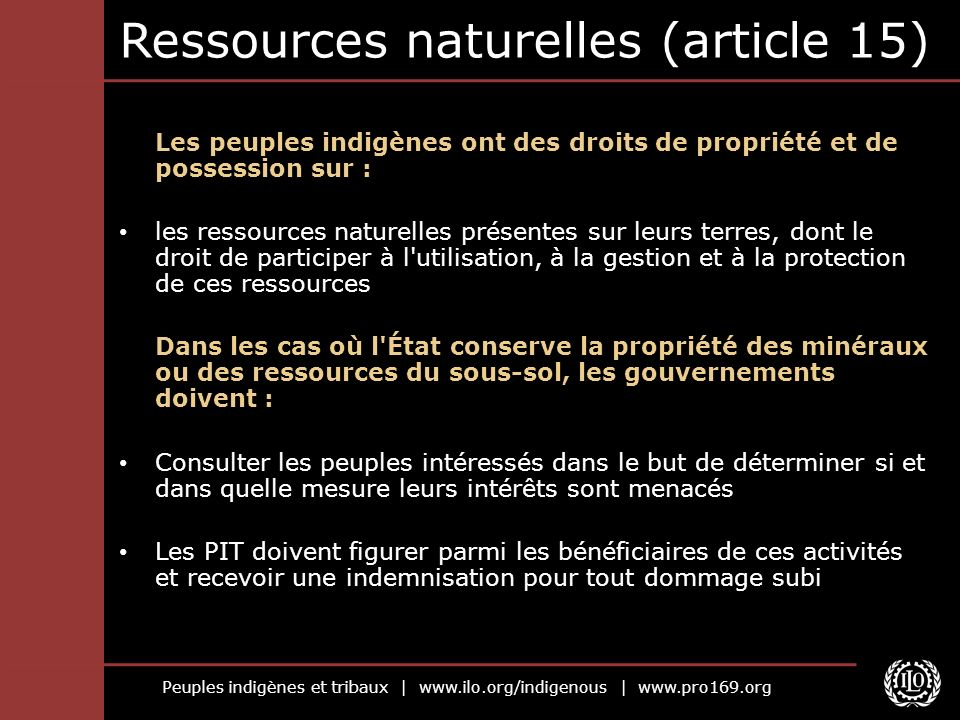 Ressources naturelles (article 15)