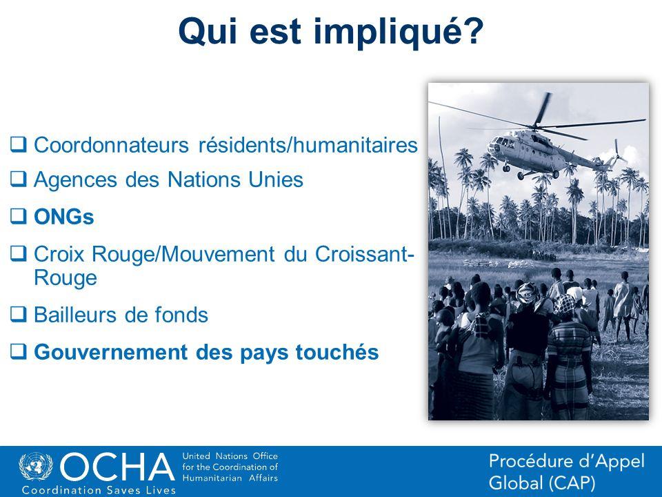 Qui est impliqué Coordonnateurs résidents/humanitaires
