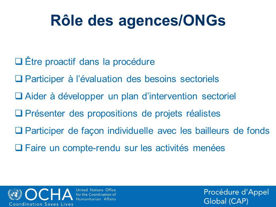 Rôle des agences/ONGs Être proactif dans la procédure