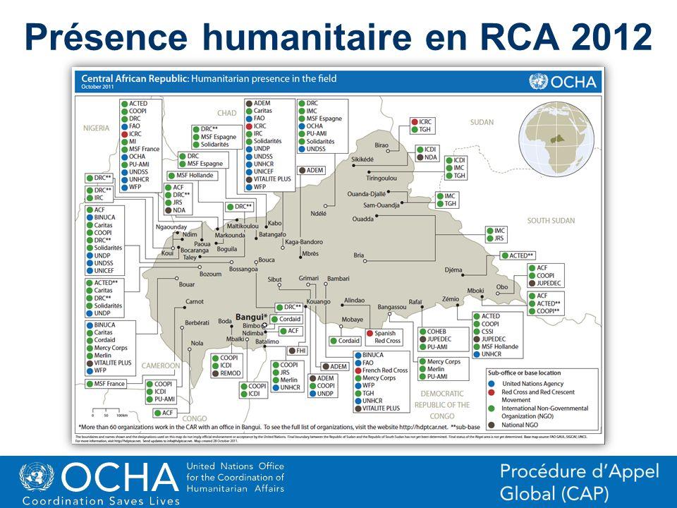 Présence humanitaire en RCA 2012
