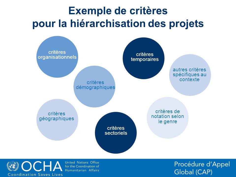 Exemple de critères pour la hiérarchisation des projets