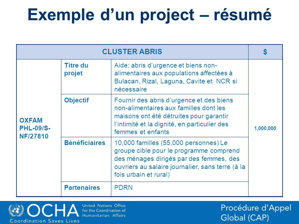 Exemple d'un project – résumé