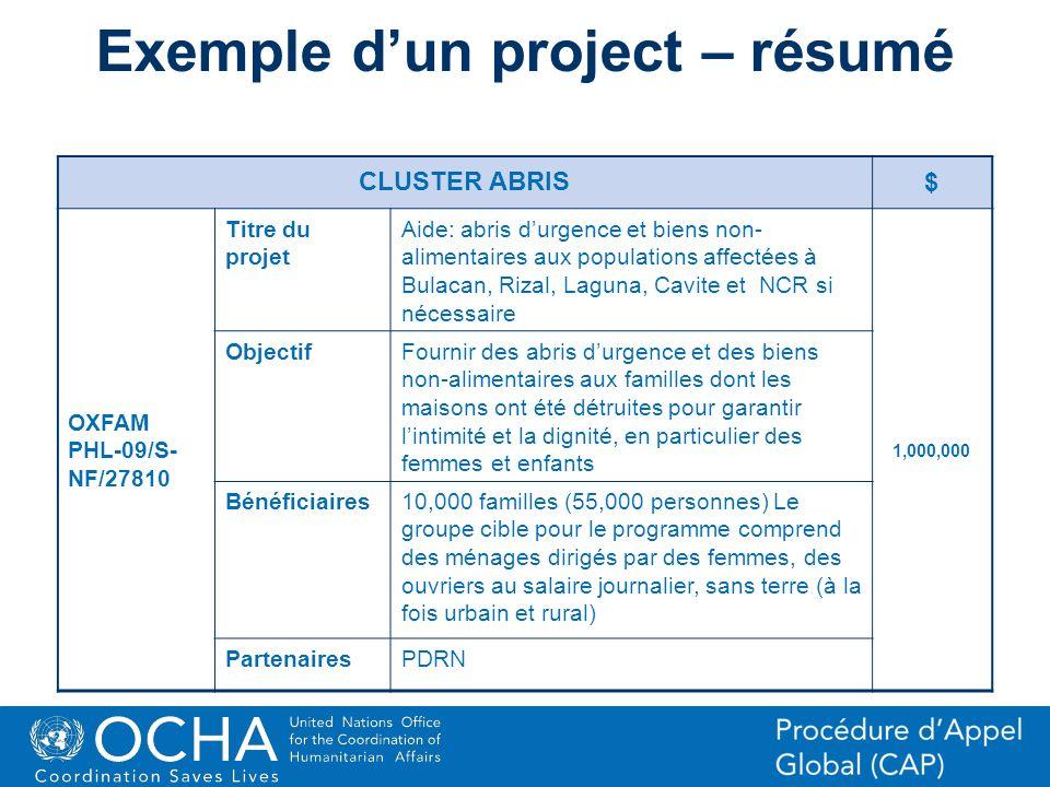 Exemple d'un project – résumé