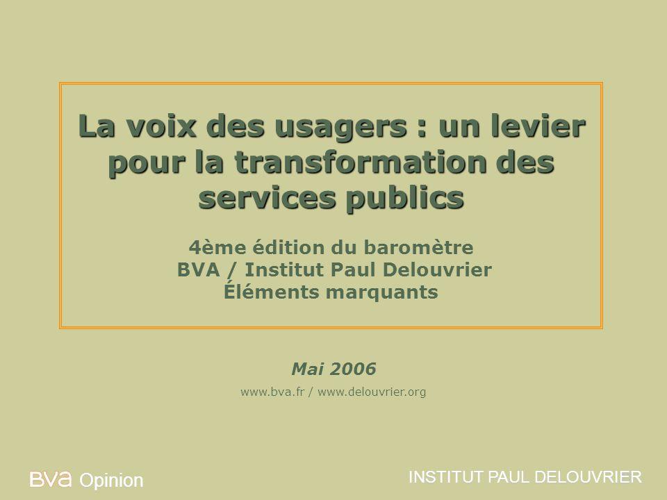 La voix des usagers : un levier pour la transformation des services publics 4ème édition du baromètre BVA / Institut Paul Delouvrier Éléments marquants