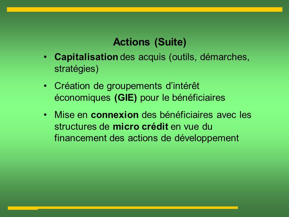 Actions (Suite) Capitalisation des acquis (outils, démarches, stratégies) Création de groupements d'intérêt économiques (GIE) pour le bénéficiaires.