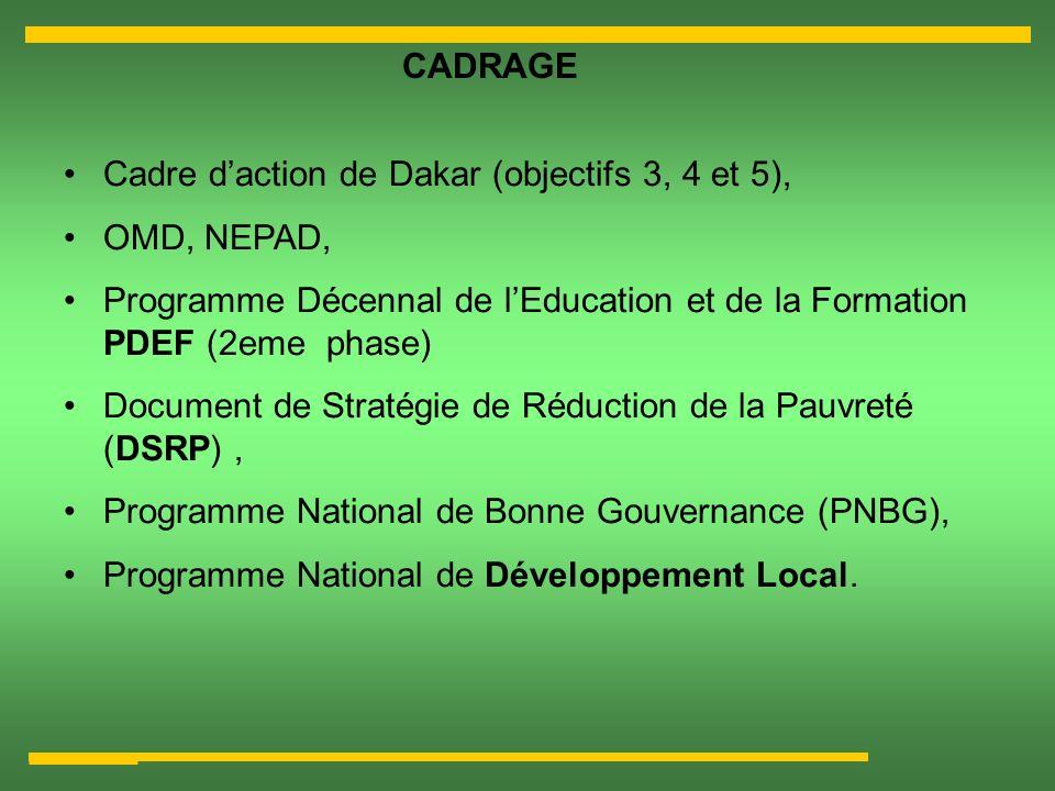 CADRAGE Cadre d'action de Dakar (objectifs 3, 4 et 5), OMD, NEPAD, Programme Décennal de l'Education et de la Formation PDEF (2eme phase)