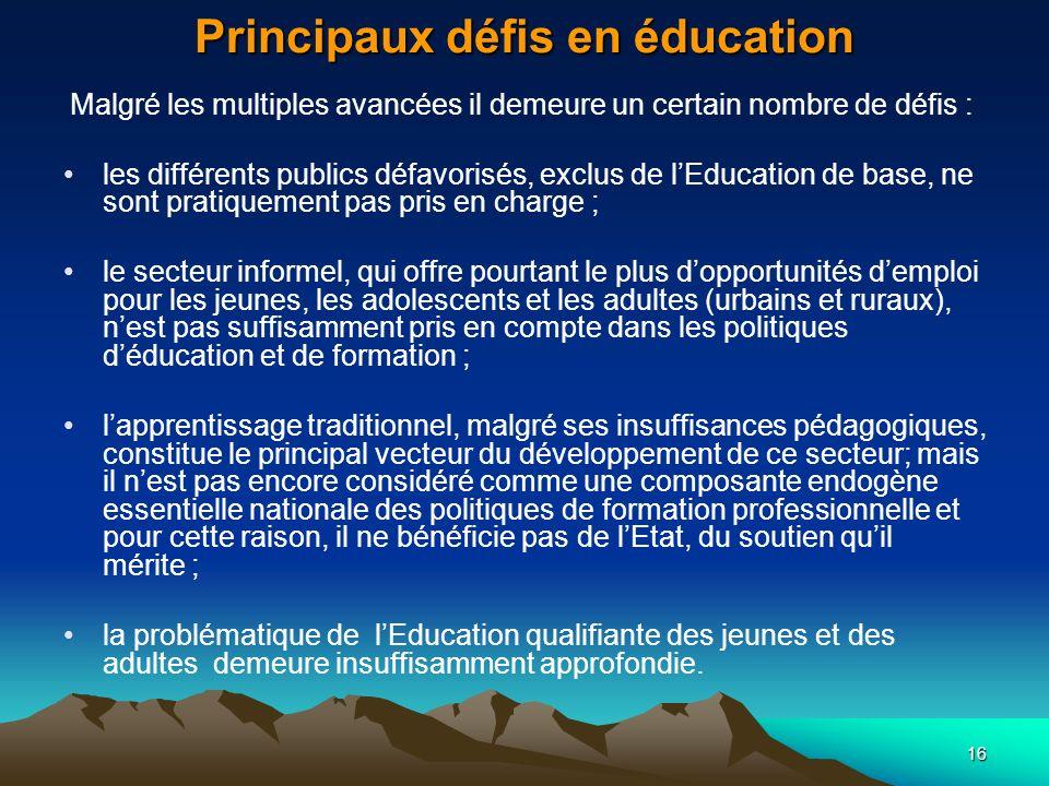 Principaux défis en éducation
