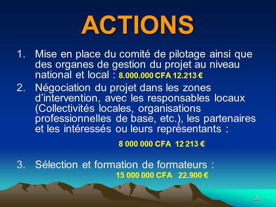 ACTIONS Mise en place du comité de pilotage ainsi que des organes de gestion du projet au niveau national et local : 8.000.000 CFA 12.213 €
