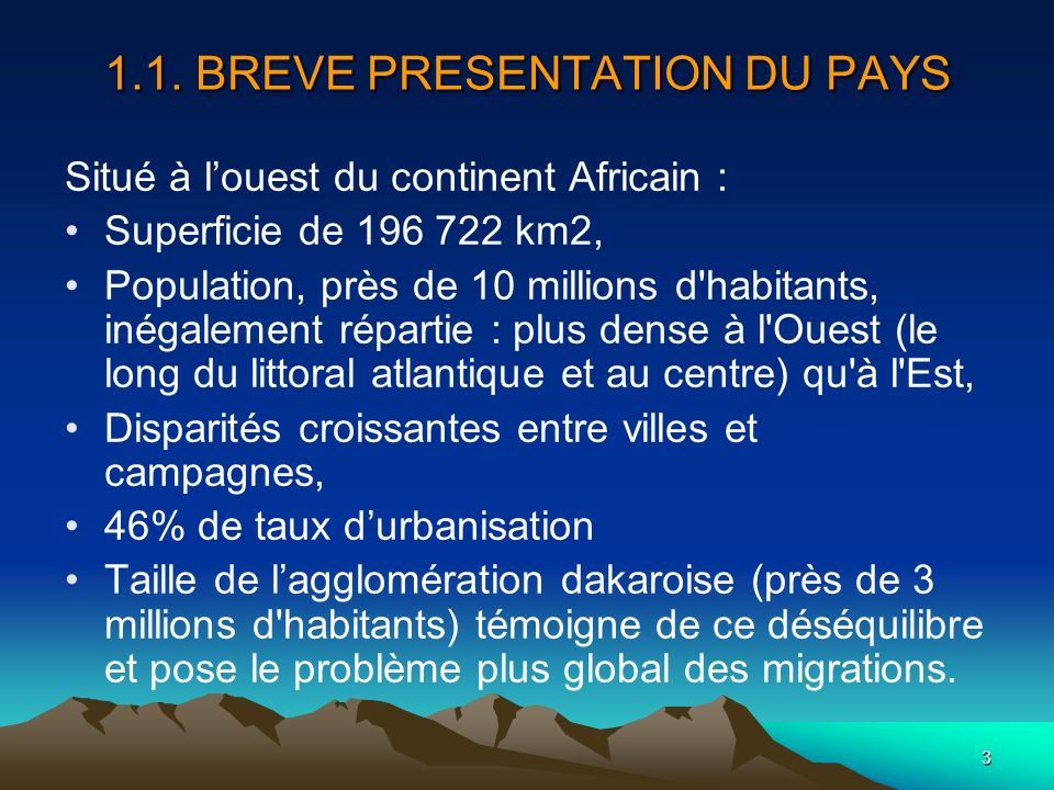 1.1. BREVE PRESENTATION DU PAYS