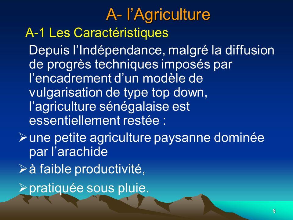 A- l'Agriculture A-1 Les Caractéristiques
