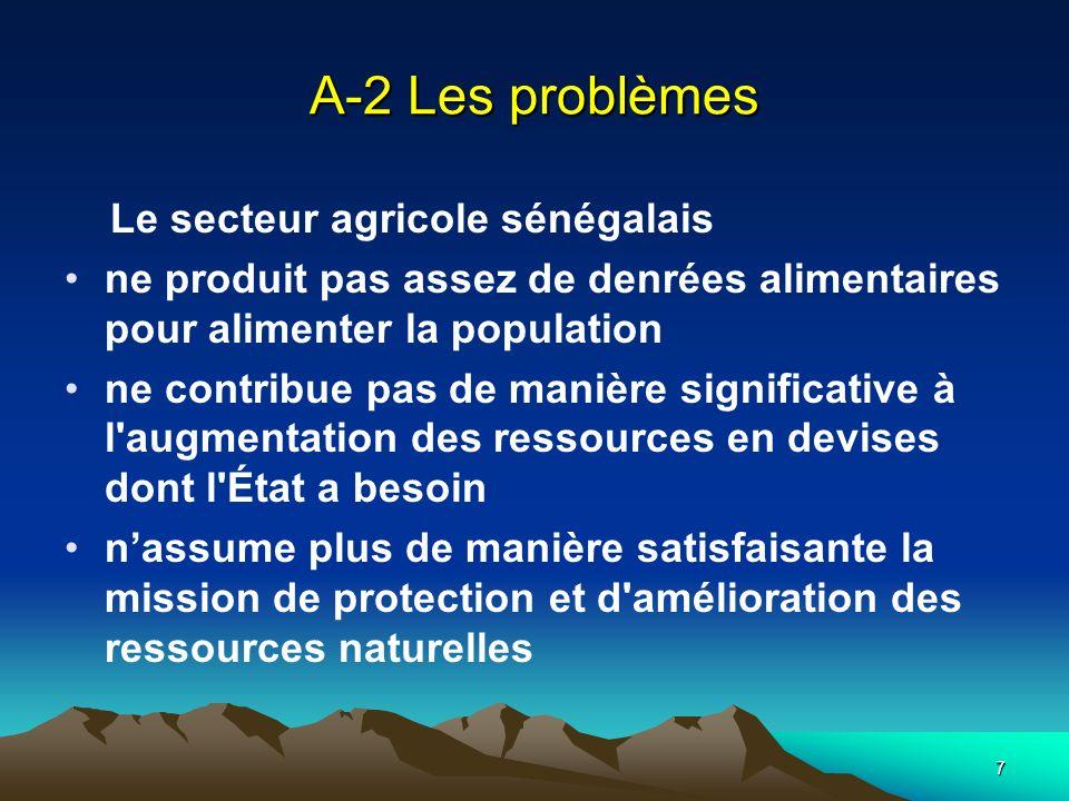 A-2 Les problèmes Le secteur agricole sénégalais